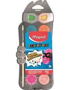 Vízfesték, 12 szín, 30 mm átm/szín + ajándék ecset, MAPED