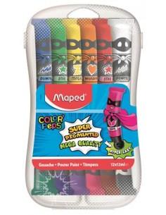 Tempera készlet, 12 darabos, mûanyag dobozban, MAPED
