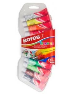 Tempera készlet, 12 ml, KORES, 12 különbözõ szín