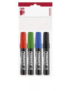 """Alkoholos marker készlet, 1-4 mm, vágott, ICO """"Permanent 12"""", 4 különbözõ szín"""