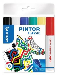 """Dekormarker készlet, 1,4 mm, PILOT """"Pintor M"""" 6 különbözõ klasszikus szín"""