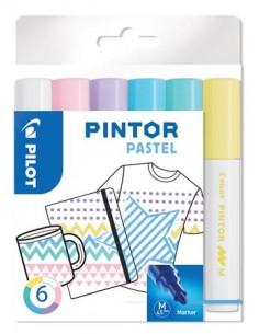 """Dekormarker készlet, 1,4 mm, PILOT """"Pintor M"""" 6 különbözõ pasztell szín"""