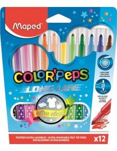 """Filctoll készlet, 1-3,6 mm, kimosható, MAPED """"Color`Peps"""", 12"""