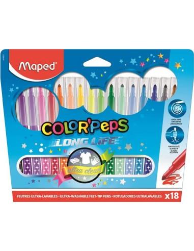 """Filctoll készlet, mosható, MAPED """"Color`Peps"""", 18 különböző szín"""