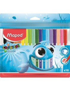 """Filctoll készlet, 2 mm, kimosható, MAPED """"Color`Peps Ocean"""", 18"""