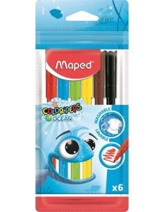 """Filctoll készlet, 2 mm, kimosható, MAPED """"Color`Peps Ocean"""", 6"""