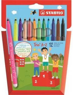 """Filctoll készlet, 0,7 mm, STABILO """"Trio A-Z"""", 12 különböző szín"""