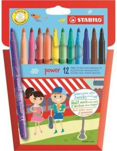 """Filctoll készlet, 2 mm, STABILO """"Power"""", 12 különböző szín"""